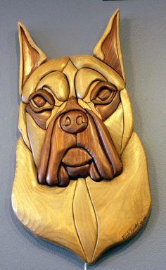 Boxer Handmade Intarsia Wood Dog Art fretwork by dogWoodbyDave Intarsia Woodworking, Woodworking Wood, Wood Sculpture, Sculptures, Intarsia Wood Patterns, Cool Wood Projects, Wood Animal, Wood Mosaic, Wood Dog