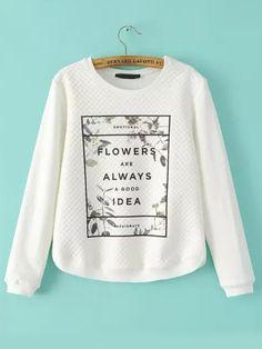 White Round Neck Letters Print Sweatshirt 21.97