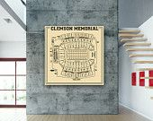 NFL Clemson Memorial Football Stadium Print Blueprint Photo Paper, Matte or Canvas Sports Tigers Drawing Memorabilia Wall Art Decor