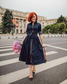 Andreea Balaban (@andreea.balaban) • Fotos y vídeos de Instagram Pretty Dresses, Shirt Dress, Denim, Instagram, Shirts, Vintage, Style, Fashion, Beautiful Gowns