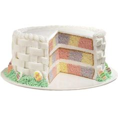 Checkerboard Pastel Easter Basket Cake showcases three colors in one cake for colorful slices that will delight family and friends. Checkerboard Cake Pan Set, with three cake pans and a ringed insert, makes it easy to get perfect results every time.