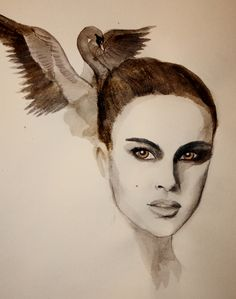 Natalie Portman - A Black Swan inspiration, made with ballpoint pen and water color