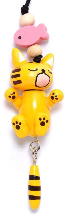 funny yellow cat wooden phone strap