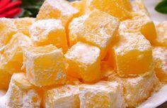 Lokum – Rahat turcesc de portocale, pregătit acasă în doar 15 minute – Simplu și delicios Cereal, Deserts, Sweets, Candy, Cooking, Breakfast, Kitchen, Morning Coffee, Gummi Candy