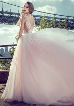 Tulle two-piece sheath dress with beaded bodice | Stephen Yearick | https://www.theknot.com/fashion/ksy91-stephen-yearick-wedding-dress