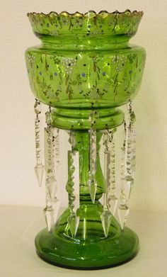 ~ Hand Painted Green 'Lustre Glass' With Crystal Prisms ~