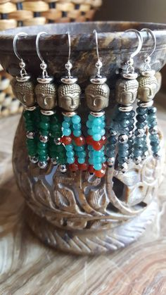 Buddha Gemstone Earrings by AkashaMalas on Etsy Gemstone Earrings, Silver Earrings, Green And Grey, Red And Blue, Mala Meditation, Spiritual Jewelry, Green Agate, Agate Beads, Buddha