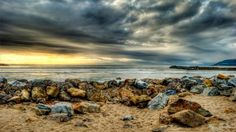 beautiful rocky beach hdr - sunset, hdr, colors, clouds, sea, beach, rocks