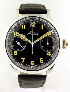 Minerva Stainless Steel 1 button-Chronograph Mens Watch. c1930's Oversized 45mm Beautiful. JPTimepieces.com