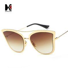 SHAUNA Fashion Women Cateye Sunglasses Brand Designer Popular Ladies Gradient Lens Reflective Coating Eyewear