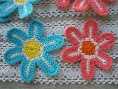 Crocheted White-Metallic Gold 4-Layered Mum Flower Applique Medium Sewing