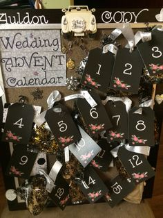 Wedding Advent calendar I made for my niece's bridal shower to countdown the last 15 days til her wedding . Each day has a little gift to pamper the bride & there is a poem on the last day ... Her wedding day