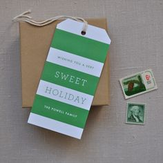 Toast & Laurel green and white striped tags...love these!