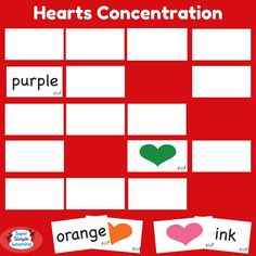 Fun and versatile Hearts Concentration game from Super Simple Learning. Great for color identification and beginning readers. There's so many ways to play with these cards!  #prek #kindergarten #colors #ESL