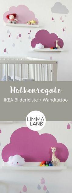 Wolken Kinderzimmerdeko: Mit Wandtattoos passend für die IKEA Bilderleisten. Im Set sind 3 Wolken und viele Tropfen enthalten für eine tolle Kinderzimmer Deko! In vier weiteren Farbsets im Shop www.limmaland.com erhältlich. Viel Spaß beim Dekorieren :-)
