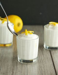 Coconut Lemon Mousse (Paleo, Raw, Vegan) ----- with instructions on how to make whipped coconut cream Raw Vegan Desserts, Vegan Treats, Paleo Dessert, Healthy Sweets, Raw Food Recipes, Sweet Recipes, Delicious Desserts, Cooking Recipes, Yummy Food