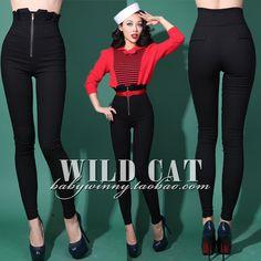 FREE SHIPPING Vintage elastic waist ultra high thickening add velvet tight-fitting hip slim winter pencil pants $26,53