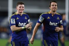 Colin Slade and Ben Smith of the Highlanders celebrate after winning the round 12 Super Rugby match between the Highlanders and the Sharks at Forsyth Barr Stadium on May 2013 in Dunedin, New Zealand. Super Rugby, Highlanders, Sharks, Games, Celebrities, Plays, Celebs, Shark, Foreign Celebrities