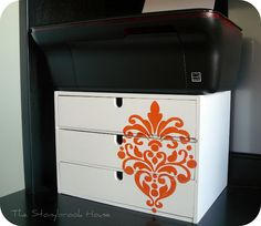 Damask Stencil ~ Awesomeness!!  This is so fab!  I'm doing one to go in my RV when we travel.  I have the printer but nowhere to store my printer paper except the desk drawers which I really need for hiding mail and such!  And the wooden storage box is from IKEA! I love Ikea!  So many cool things, so little time!