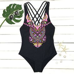 Cupshe Someday Never Comes Black Floral Swimsuit