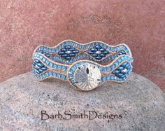 ON SALE White Beaded Leather Wrap Cuff by BarbSmithDesigns on Etsy