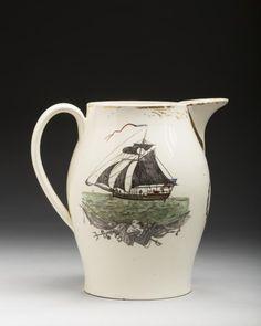 """American Ship"" English creamware transfer decorated presentation jug, 1790-1805"