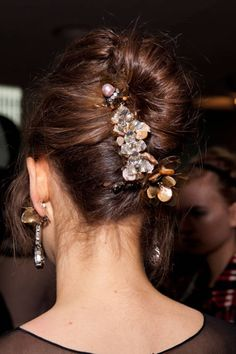 Tory Burch Fall 2012 Backstage -- modern french twist with jewels