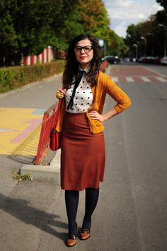 Get scholarly style with a pencil skirt and tie-collar blouse like Ionela in our Style Gallery.