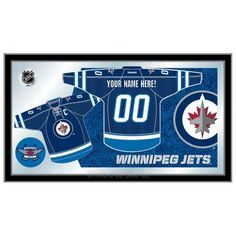 Holland Bar Stool NHL Jersey Mirror Framed Graphic Art NHL Team: Winnipeg Jets