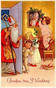 Ansichtkaart, Groeten van St Nicolaas