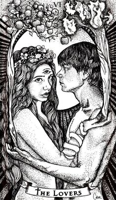 The Lovers Tarot Card Print by ChelseaMonicoArt on Etsy, $25.00
