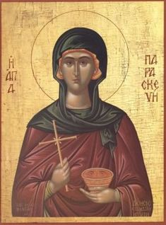 """When Saint Paraskeva the New cent Serbia) heard the Lord's teaching, """"If… Orthodox Catholic, Orthodox Christianity, Byzantine Art, Byzantine Icons, Becoming A Monk, Day Of Pentecost, Religious Icons, Orthodox Icons, Christian Faith"""