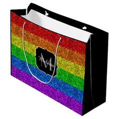 LGBT flag vibrant sparkles Monogram Large Gift Bag - monogram gifts unique design style monogrammed diy cyo customize