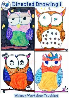 A great way to explore fine motor skills, artistic expression… Classroom Art Projects, Art Classroom, Classroom Ideas, Drawing Lessons, Art Lessons, Drawing For Kids, Art For Kids, First Grade Art, Owl Kids