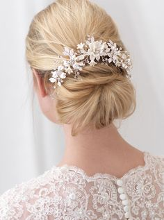 Romantic Hand Wired Floral Back Comb in Silver or Gold--Affordable Elegance Bridal -