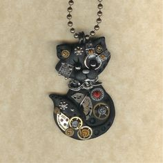 Steampunk Black Kitty Cat Polymer Clay Jewelry par Freeheart1