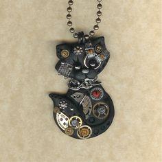 Steampunk Black Kitty Cat Polymer Clay Jewelry par Freeheart1