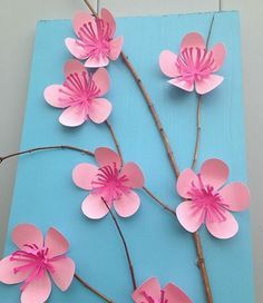 1001 Ideas For Diy Art Projects To Try With Your Kids Diy Projects For Kids Small Twig Decorated With Cherry Blossoms Made From Paper In Two Shades Of Pink On A Pale Blue Background Kids Crafts, Creative Crafts, Diy And Crafts, Creative Design, Paper Flowers For Kids, Diy Flowers, Origami Flowers, Diy Projects For Kids, Diy For Kids