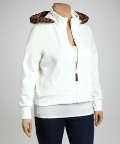 Take a look at this Ivory Fur-Trim Zip-Up Hoodie - Plus by Dollhouse on #zulily today!