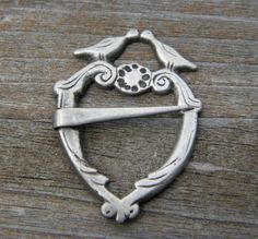 Antique Sterling Silver Heart Shaped Viking Fibula by calessabay, $55.00