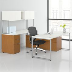 Voi U-Shaped Workstation with Low Credenza by HON | SmartFurniture.com