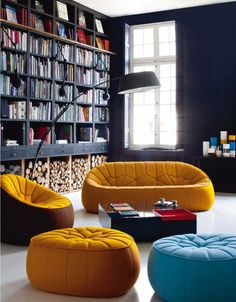 Home Library Design Extraordinary Blue And Yellow Sofa Home Library Design