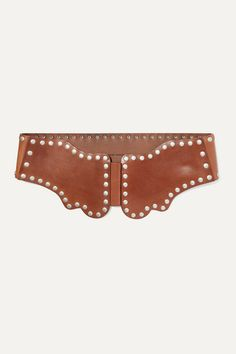 Brown leather (Cow) Snap fastenings Made in Italy Studded Leather, Brown Leather, Chunky Knitwear, Isabel Marant, Cow, Belt, Chairs, Style, Design