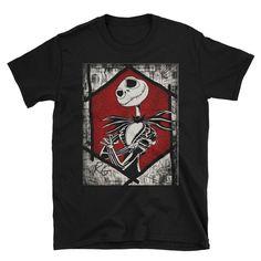 Jack Skellington Nightmare Before Christmas Short-Sleeve Unisex T-Shirt Nerdy Shirts, Jack Skellington, Nightmare Before Christmas, Short Sleeves, Unisex, Mens Tops, T Shirt, Tim Burton, Awesome