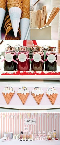 BridalPulse - Fun Ice Cream Ideas for Your Wedding Party Event | Images by Megan Edelman Photography (top 4 images); Eat Drink Chic (bottom image) | Follow @BridalPulse for more wedding inspiration