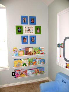 cute bookshelves made from MDF and crown molding - $12!