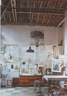 Artists studio messy, references everywhere could be darker. I like the feel of the space