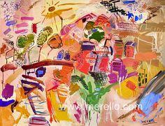 """AIRE.  Jose Manuel Merello.- """"La aldea del viento"""" (97 x 130 cm)   CONTEMPORARY ART. http://www.merello.com"""