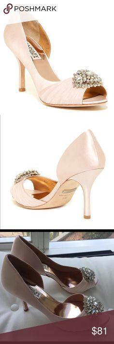 "Badgley Mischka Bridal Shoes Pearson D'Orsay Blush pink very light color. Heels 3.5"" Badgley Mischka Shoes Heels"
