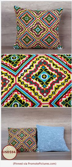 Geometrical multicolor cross stitch embroidered decorative throw cover, diamond pattern 14 x 14 (35 x37 cm) ~ hippie boho retro style https://www.etsy.com/listing/271707016/geometrical-multicolor-cross-stitch?ref=shop_home_active_78  (Pinned using https://PromotePictures.com)